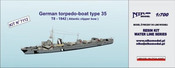 German torpedo-boat type 35  T8 1942 ( Atlantic clipper bow )